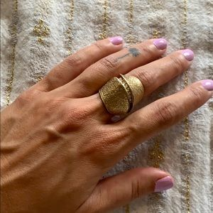 BCBG gold statement ring